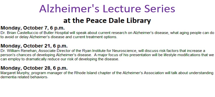 Alzheimer's Lecture Series every Monday in October at 6:00 p.m.