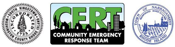 CERT Logo With Town Seals of South Kingstown and Narragansett